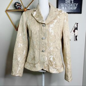 Bob Mackey Collection Jacquard gold blazer I1117